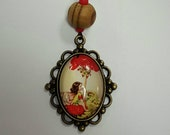 Bronze Glass Cameo FAIRY 18 inches - red