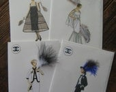 4 Coco Chanel fashion print note cards boxed set 5