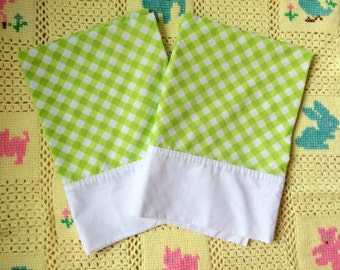 Green Gingham Pillowcases