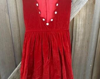 60s Red Velvet Dress Girls 6/8