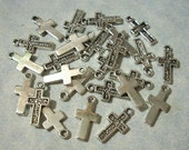 25 Small Cross Charms - 8 x 16mm - Small Metal Cross Charms