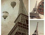 Paris print set, 3 photo set, gallery wall art, wall art set, three prints, Eiffel Tower prints, Eiffel Tower print set, sepia print set