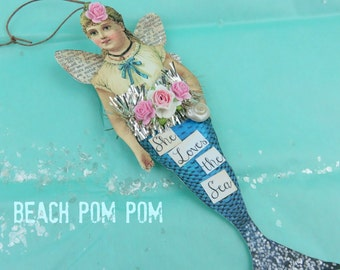 Mermaid adornment Sparkle & Pink Roses