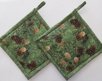 Green Pinecone  Potholders, Pine Cone Potholders, Pine Cone Pot Holders, Pinecone Holders, Pinecone Hot Mat, Handmade Potholder