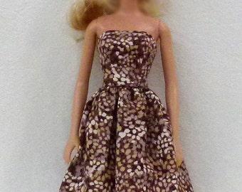 "Brown 11.5"" Fashion Doll Handmade Dress"