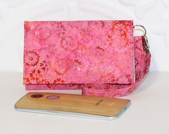 Cell Phone Wallet Wristlet, Crossbody Ready, Fits Most Smartphones, iPhone 6 6s Plus, Galaxy LG Nexus Moto X Pure Wallet / Pink Floral Batik
