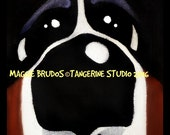 bernese mountain dog berner bmd face special 22.00  mini canvas 4x4 x1 thick edge maggie brudos painting Original whimsical DOG art