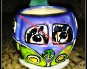 whimsical ceramic  CAT hand painted bernese mountain dog VW BUS mug love original maggie brudos tangerine studio