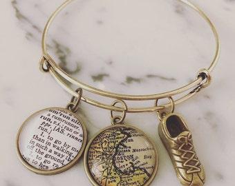 Custom Marathon Charm Bracelet - Personalized Definition Jewelry - You Choose City - Wanderlust - Travel Bug - Marathoner - Runner - Running
