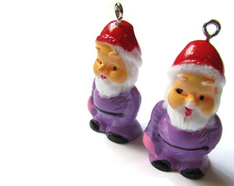 2 Laveder Purple Charms Miniature Garden Gnome Charms 34mm Resin Charms Pendants Santa Claus Cute Charms Kitsch Charms Jewelry Making