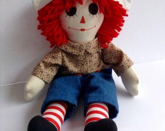 "Raggedy Andy Doll Handmade 15"" Red Yarn Hair"