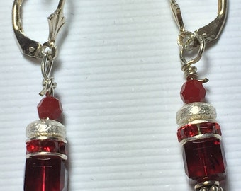 Red crystal and silver drop earrings
