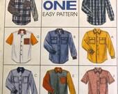 Vintage Men's Shirt Sewing Pattern McCall's 7834 Men's Oversized Shirts Size 38-40   Complete UNCUT