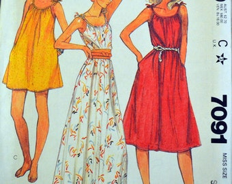 Vintage 1980's Sewing Pattern  McCall's 7091 Misses' Sun Dress Bust 32-34 Inches Complete