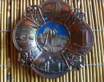 vintage Puerto Rico  Ashtray old metal  hotels beach palm trees hand colored made in Japan