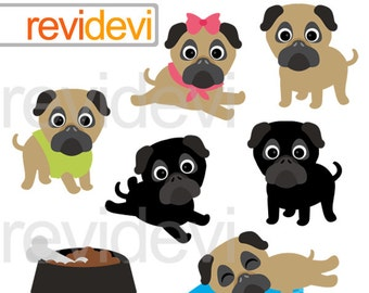 Pugs clipart - brown and black pug clipart - Puppy, dog - digital clip art - instant download - commercial use