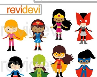 30% OFF SALE Superhero Girls team clipart, digital clip art, superhero digital images