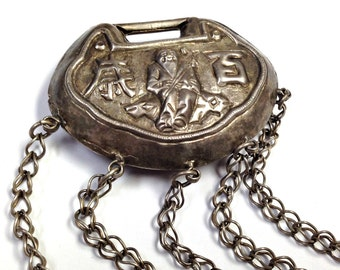 ANTIQUE Chinese SILVER LOCK Qing Dynasty Repousse Symbolic with Bells L5