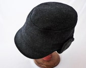 Charcoal Gray Cashmere and Wool Winter Cap with Knit Ear Flaps : Mens, Womens Hats - Size Large - Winter Hat, Warm Hat, Mens Winter Cap