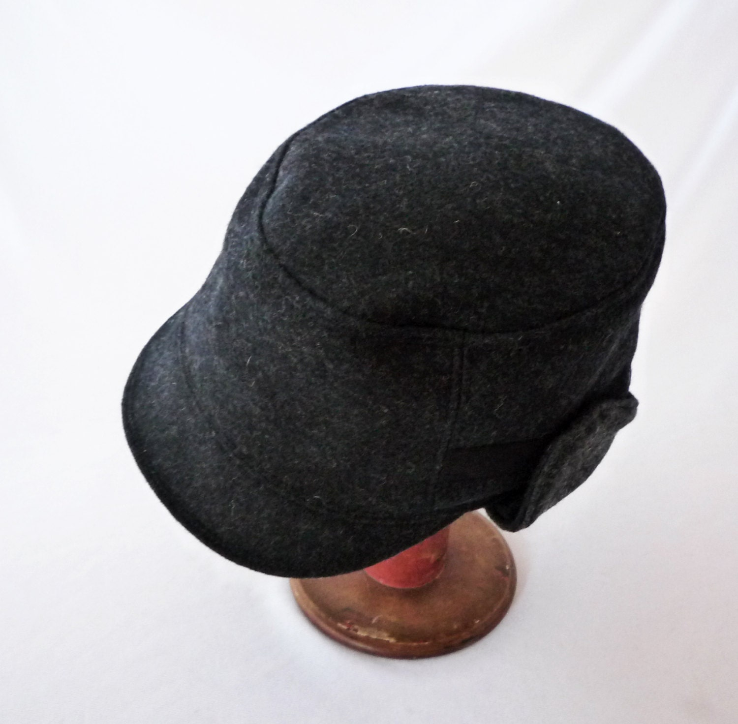 4291ac3c200db ... Wool Flap Hat  Charcoal Gray Cashmere And Wool Winter Cap With By