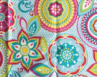 Bright Floral Fabric - 44 inches x 43 inches - heavier weight cotton