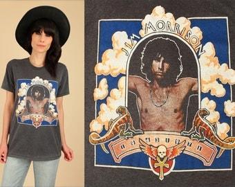 Jim Morrison T-Shirt the DOORS ViNtAgE 70's THREADBARE 1971 Super RARE Rock Tee Black Lizard King Graphic Soft Thin Large L