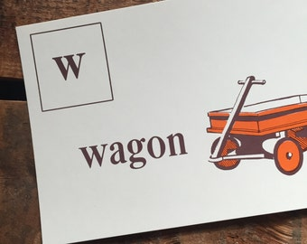 Vintage Alphabet Flash Card: Large Picture Phonic Flash Card for the Letter W - 1950s Illustrated School Flash Card, Wall Decor, Educational