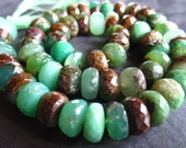 7 inches of Bio Chrysoprase faceted rondelle semiprecious stone beads - 10mm X 5mm