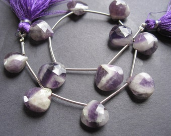 Complete Strand of Amethyst briolettes - heart shaped - 11 beads