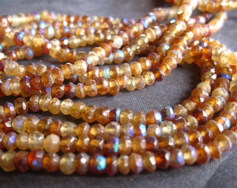 Mystic Hessonite Garnet - Genuine Stone - 3mm X 2mm -  6 1/2 inches of faceted semiprecious rondelles
