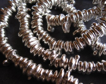 Fine Silver Large Holed Nugget Rondelles - 5.5mm to 7mm size - 12 beads