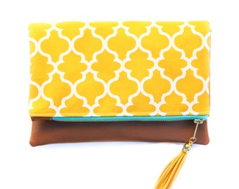 Boho Tassel Clutch in Yellow Moroccan Trellis Print with Tan Vegan Leather and Turquoise and Gold zipper close
