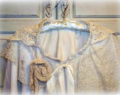 Victorian Shabby Chic capelet, lace hood, ties at neck, Shoulder cape