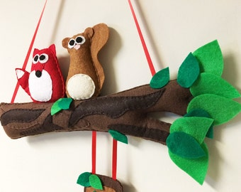 Felt Branch, Welcome Sign, Fox and Squirrel, Forest Friends, Ready to Ship, Tree Top Decoration, Wall Art