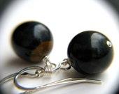 Hawks Eye Earrings . Blue Tiger Eye Earrings . Simple Earrings Dangle . Midnight Blue Black Sphere Earrings - Mystic Collection NEW