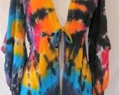 Tie Dye Black Rainbow Kimono Sleeve Rayon Jacket