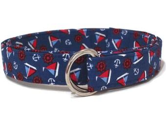 Sailboat Belt Boys D-Ring Belt / Toddler Nautical Belt  / Blue Fabri Boat Belt / Sailboat on Royal Blue / Boys Gift