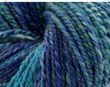 july yarn sale Handspun Yarn in Merino Wool, Nylon Sparkle, Silk, Localish Alpaca. Blue Handspun Yarn, Plied, Long Stripes/Color Transitions