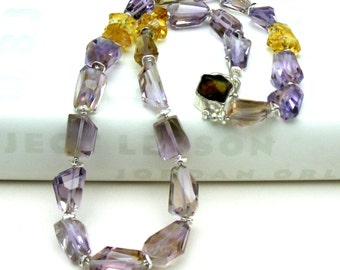Ametrine Citrine Classic Beaded Necklace, Luxe High End, Designer Clasp, by cooljewelrydesign,  For Her Under 1500
