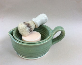 handmade ceramic shaving scuttle/men's shaving/ gift/mint green/pottery/ in stock  S5