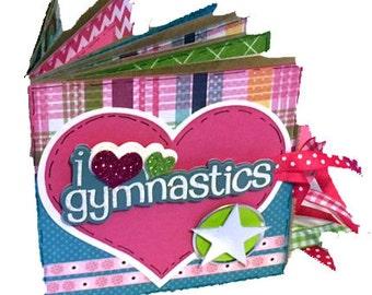 Gymnastics Premade Scrapbook - Mini Sports Scrapbook - Paper Bag Gymnastics Album