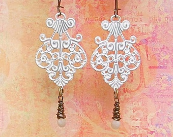 jewelry Sale / White earrings boho dangle earrings kidney earwires Bohemian jewelry