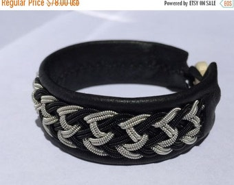 CIJ SALE Black and Silver Chevron Sami Bracelet - Leather Wrap Tin Metal Thread Braided Bracelet with Reindeer Leather and Antler Button Cla