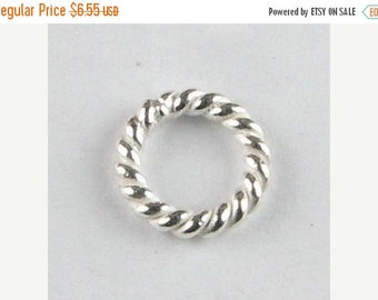 FLASH SALE 8mm Bright Bali Sterling Silver Twisted Rings (10 beads)