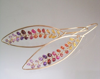 Colorful Sapphire Leaf Earrings, Gemstone Vine Dangles, Ombre Elongated Hoops, Lightweight, Wire Wrapped, Artisan, Original Design