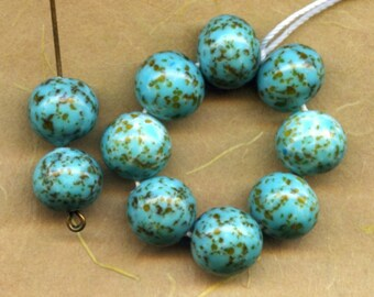 Vintage Turquoise Glass Beads, Hubbell Style,  1950 Japanese Handmade Lampwork (10)