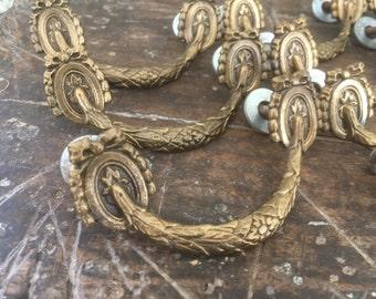 Ornate Cast Brass Drawer Pulls, Set of 10