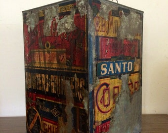 E.B Millars Antique Coffee Tin Roasting Box Huge 20 Inch Tall Antique Tin Chicago Rare