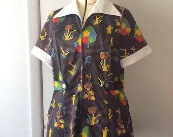 1970's Smock Shirt Minecraft Pixelated Floral Polyester Zippered Blouse Work Shirt Medium Large