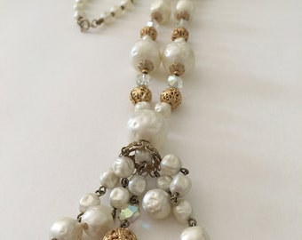 Mid Century Necklace Faux Pearl Y Necklace Metal Filigree Beads Aurora Borealis